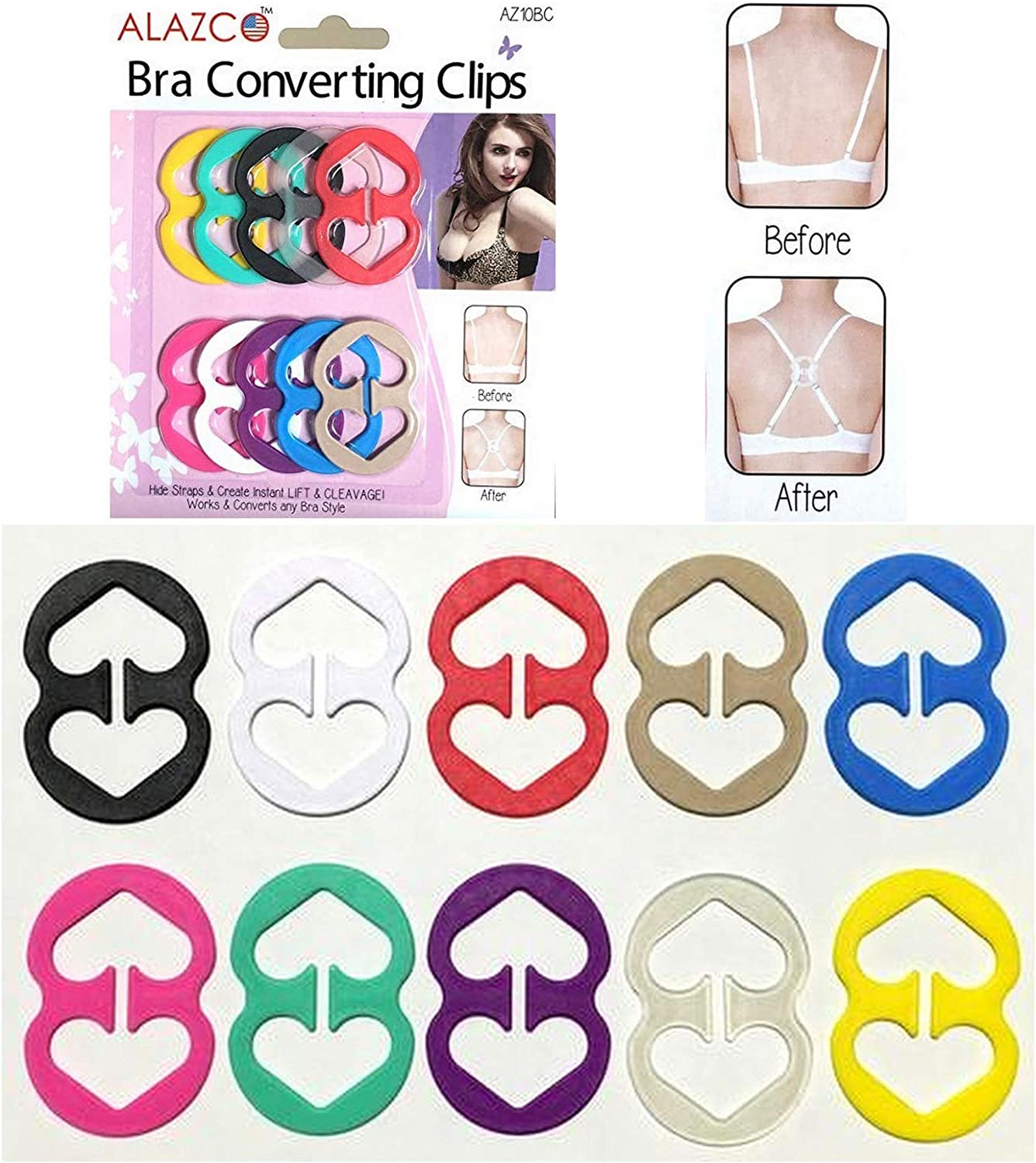 3 Pack - Assorted, White Bra Strap Clips Conceal Straps Cleavage Control