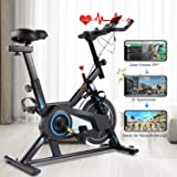 Exercise Bike, Indoor Cycling Stationary Bike Belt Drive with APP connection, Adjustable Resistance, LCD Monitor, Pad/Phone H