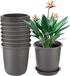 EHWINE 7.2 Inch Plastic Flower Pots 8 PCS, Indoor Plant Pots with Drainage and Tray, Brown Planters Fit with Flowers,Succulents, Vegetables