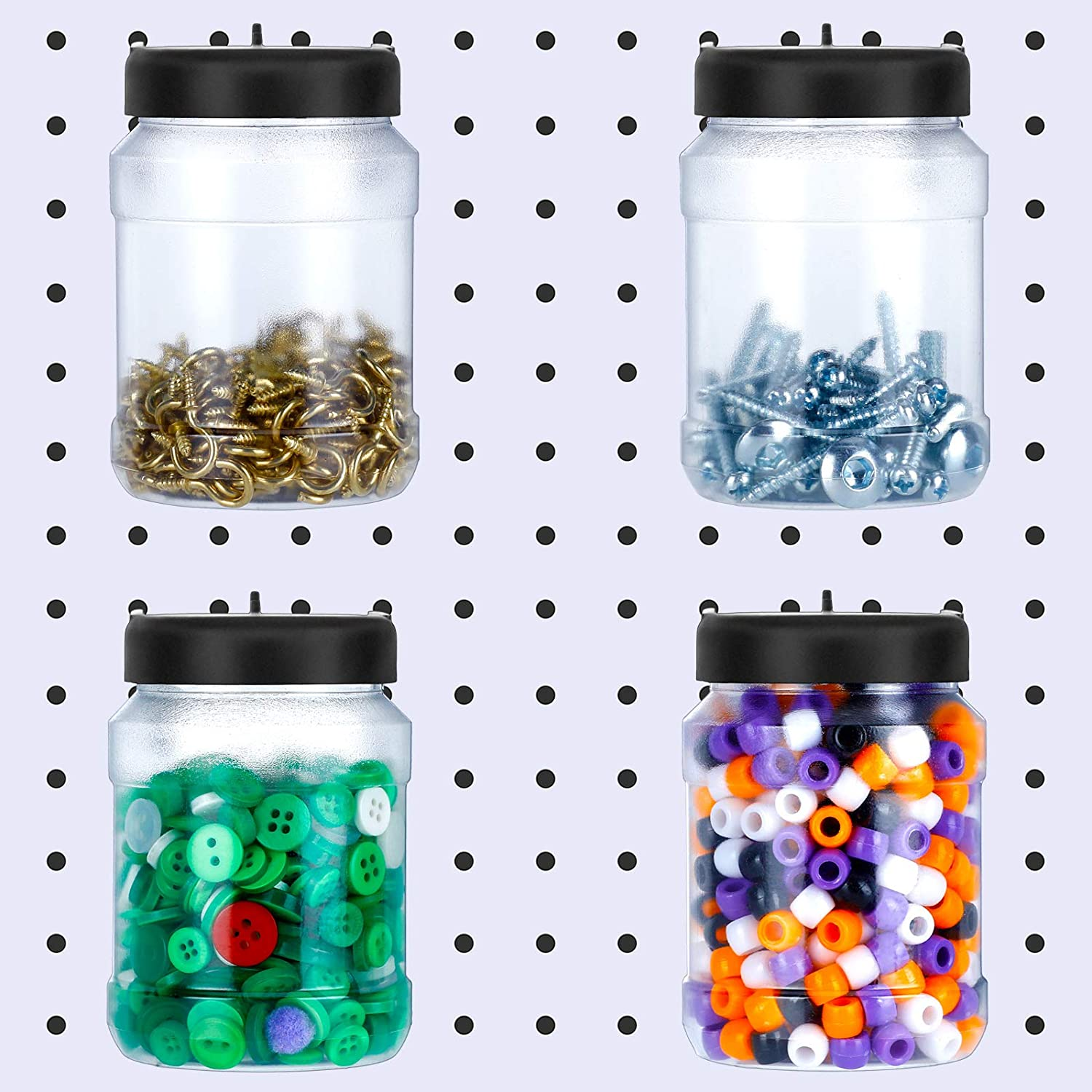 4 Pieces Pegboard Bins Accessories Pegboard Organizer Storage Jars Crush and Impact Resistant Plastic Pegboard Jars for DIY Food Storage, Craft, Garage Storage and Sewing