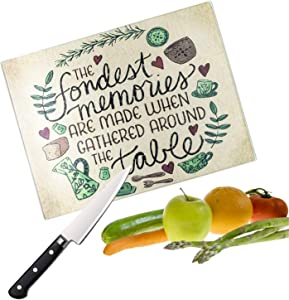 Keane Tempered Glass Cutting Board for Vegetables and Meat - Scratch, Heat, Shatter Resistant, Long Lasting & Dishwasher Safe Board for Home & Restaurant (Kitchen Memories Design - 30x40 cm)