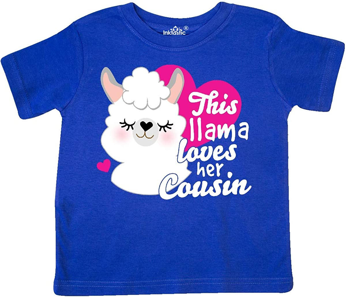 inktastic Valentines Day This Llama Loves Her Cousin Toddler T-Shirt