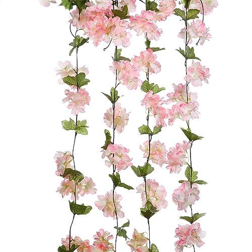 Pink flower garland amazon luyue 4 x 233cm artificial cherry blossom hanging vine garland flowers wreath home garden yard fence mightylinksfo
