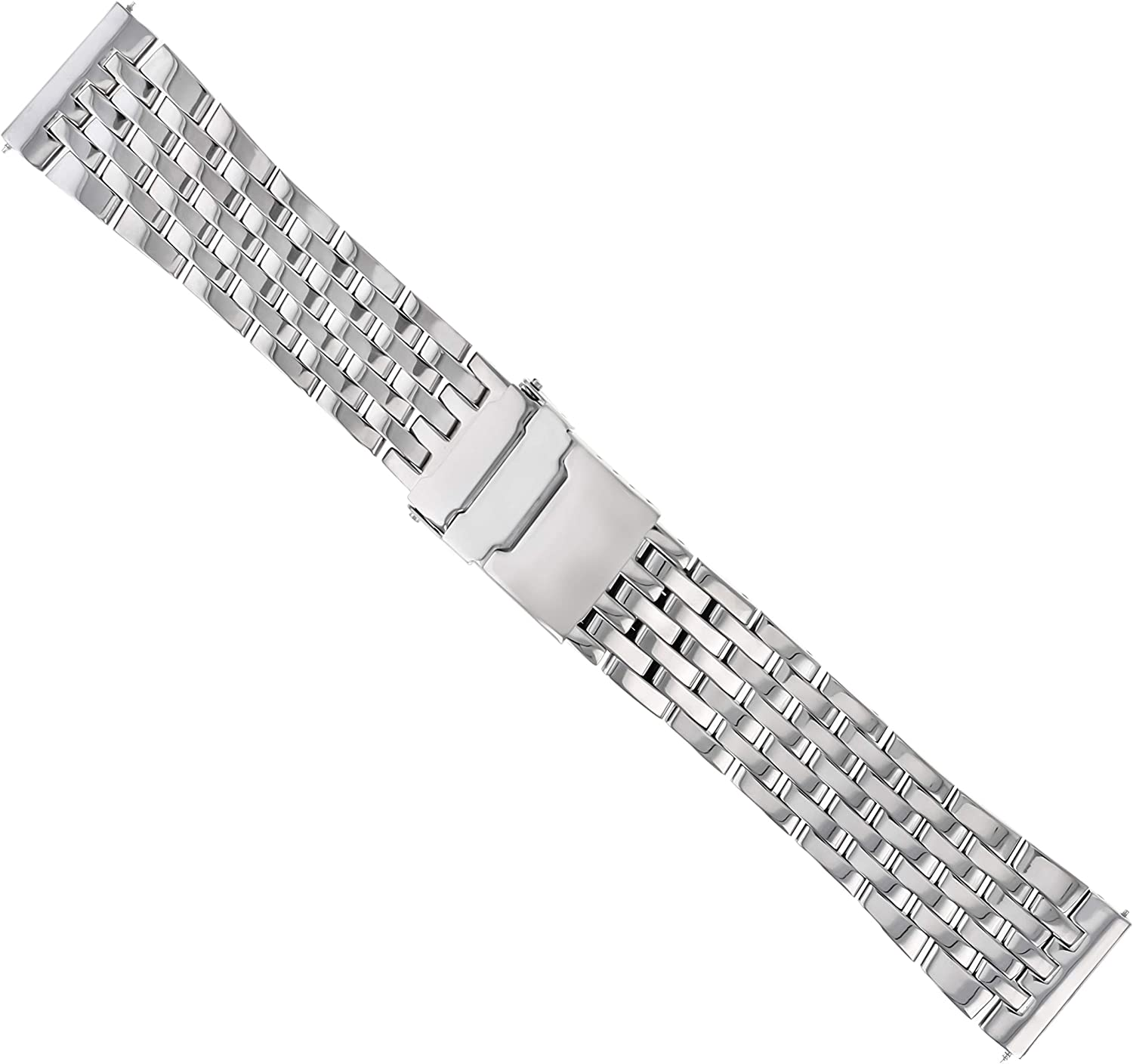 22mm Watch Band Bracelet Compatible with Breitling Navitimer A13322 7 Link Stainless S Shiny