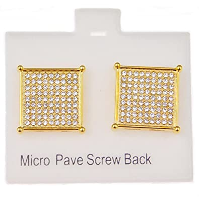 86cac84ba Image Unavailable. Image not available for. Color: Mens 18k Gold Plated  Earrings Square Screw Back 16MM Iced-Out Large Micro Pave 9