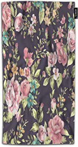 HOSNYE Flower Hand Towel for Bathroom Valentine's Day Green Pink Roses Watercolor Floral Pattern Absorbent Soft Towels for Beach Kitchen Spa Gym Yoga Face Towel