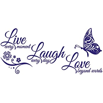 Amazon.com: Dormery Live Laugh Love Butterfly Flower Wall ...