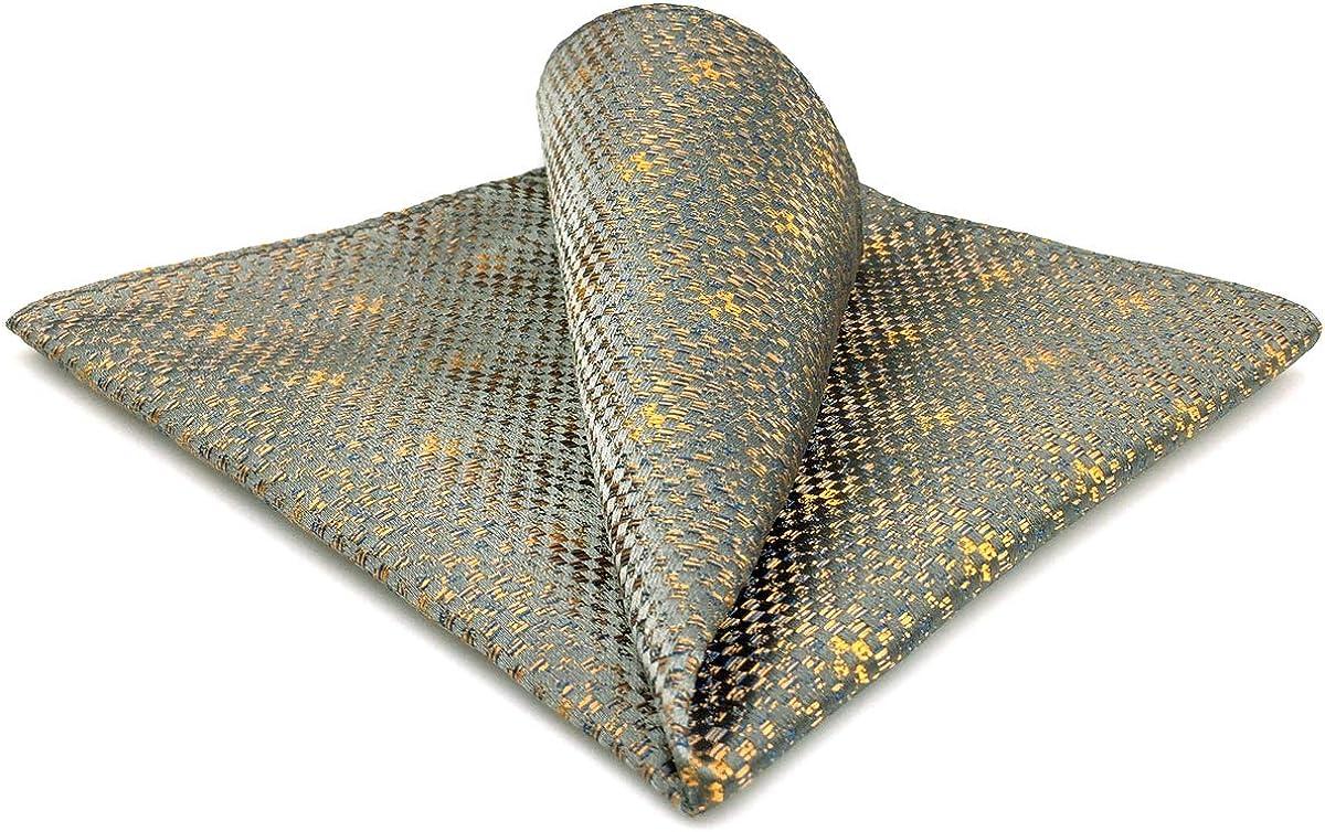 SHLAX&WING Ties for Men Unique Grey Orange Geometric Silk Mens Necktie for Suit