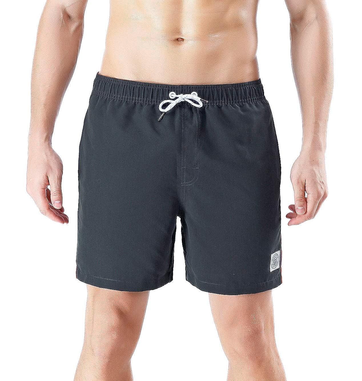 QRANSS Mens Short Swim Trunks Boys Quick Dry Beach Broad Shorts Swim Suit with Mesh Lining