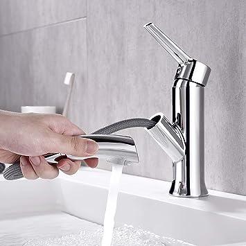 Auralum Grifo Lavabo con Ducha Extraíble para Baño Mezclador Baño de Latón Cromado Grifo para Lavabo