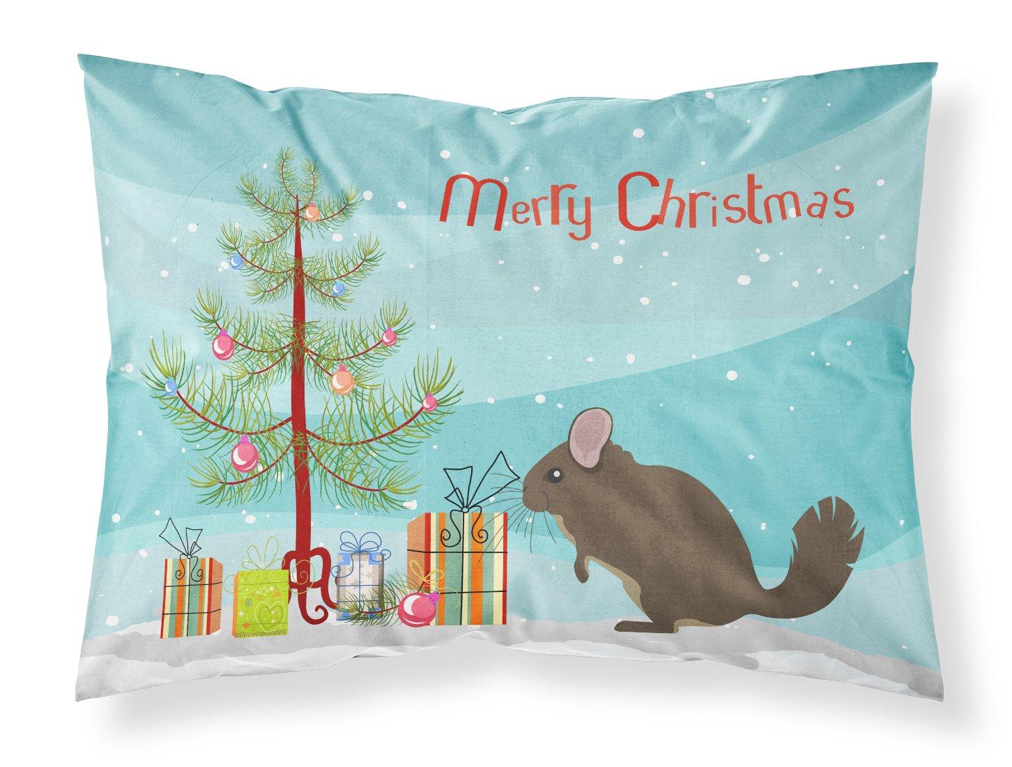 Multicolor Standard Carolines Treasures BB9242PILLOWCASE Chinchilla Christmas Fabric Standard Pillowcase
