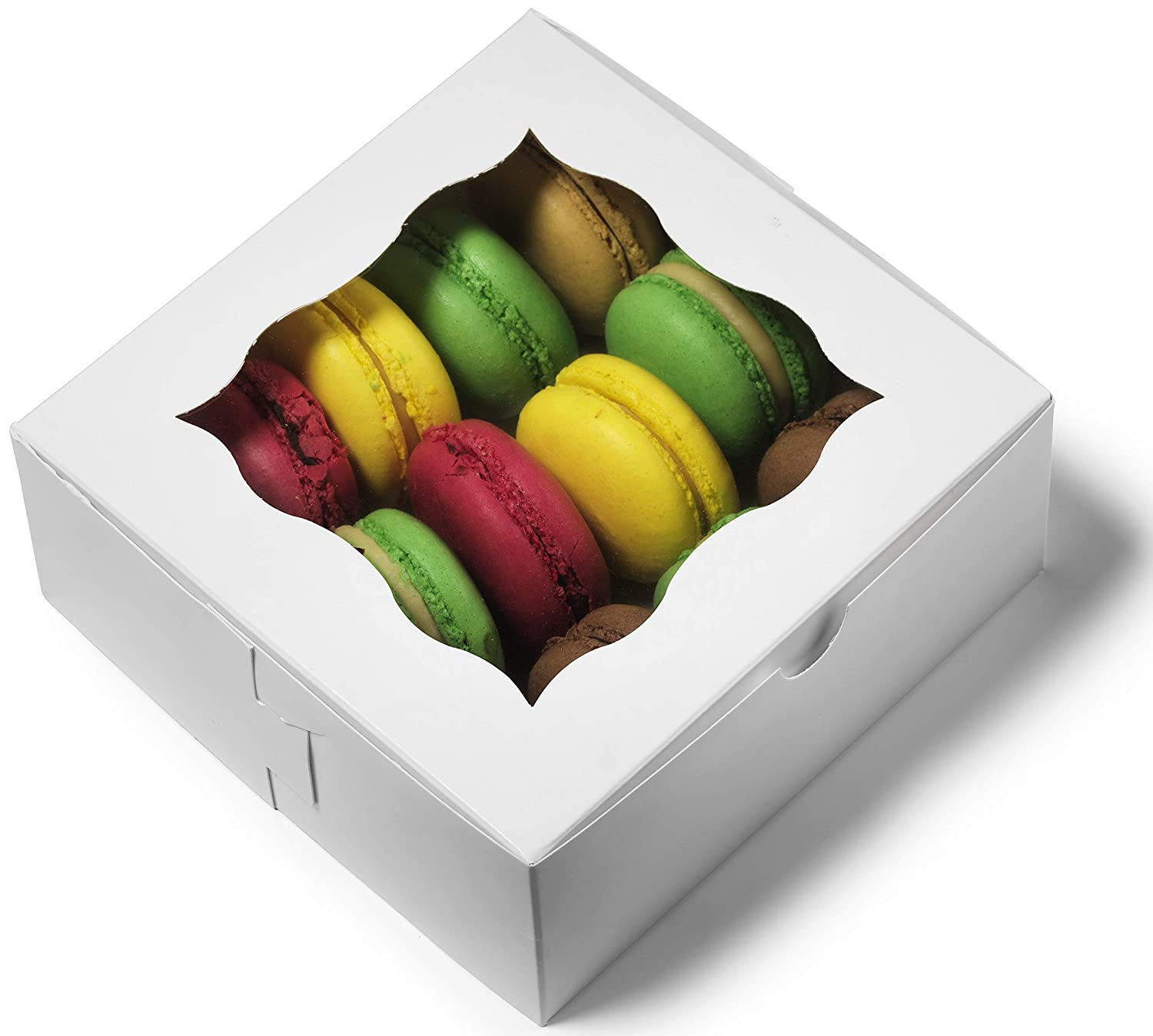 Donut Pies Macaron Pack of 50 Wedding Favors and Dessert Packaging for Cake Gold Baby Shower Cookies and Party Treat Cupcake Gift Box with Window 6x6x2.5 Bakery Boxes Pastry Containers