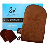 SwanMyst Self Tanning Mitt Applicator, Double Side Microfiber Sunless Tanner Glove for Flawless and Streak-free Tan, 2 Free Gift Face Tan Mitts
