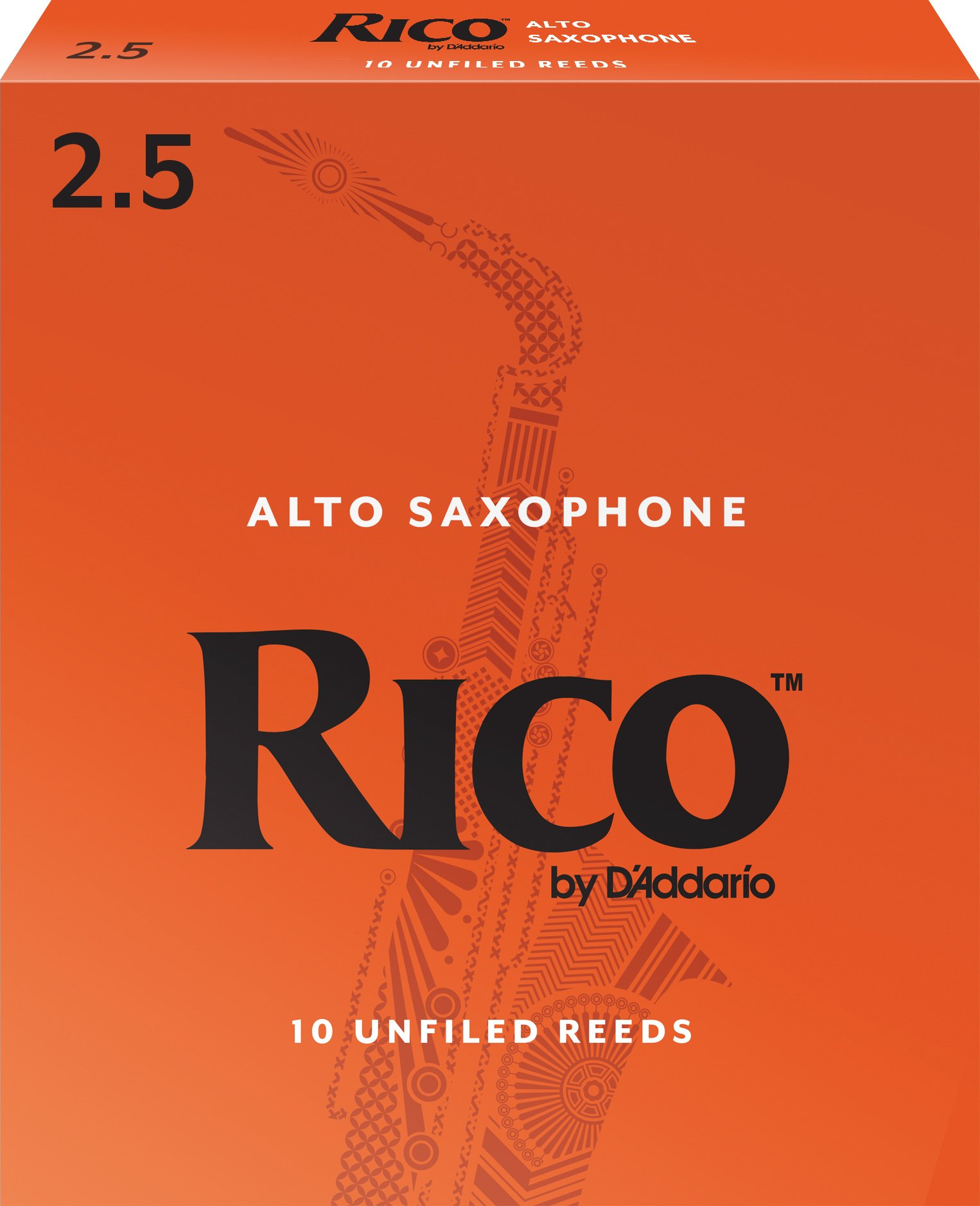 Rico by D'Addario RJA1025 Alto Sax Reeds, Strength 2.5, 10-pack