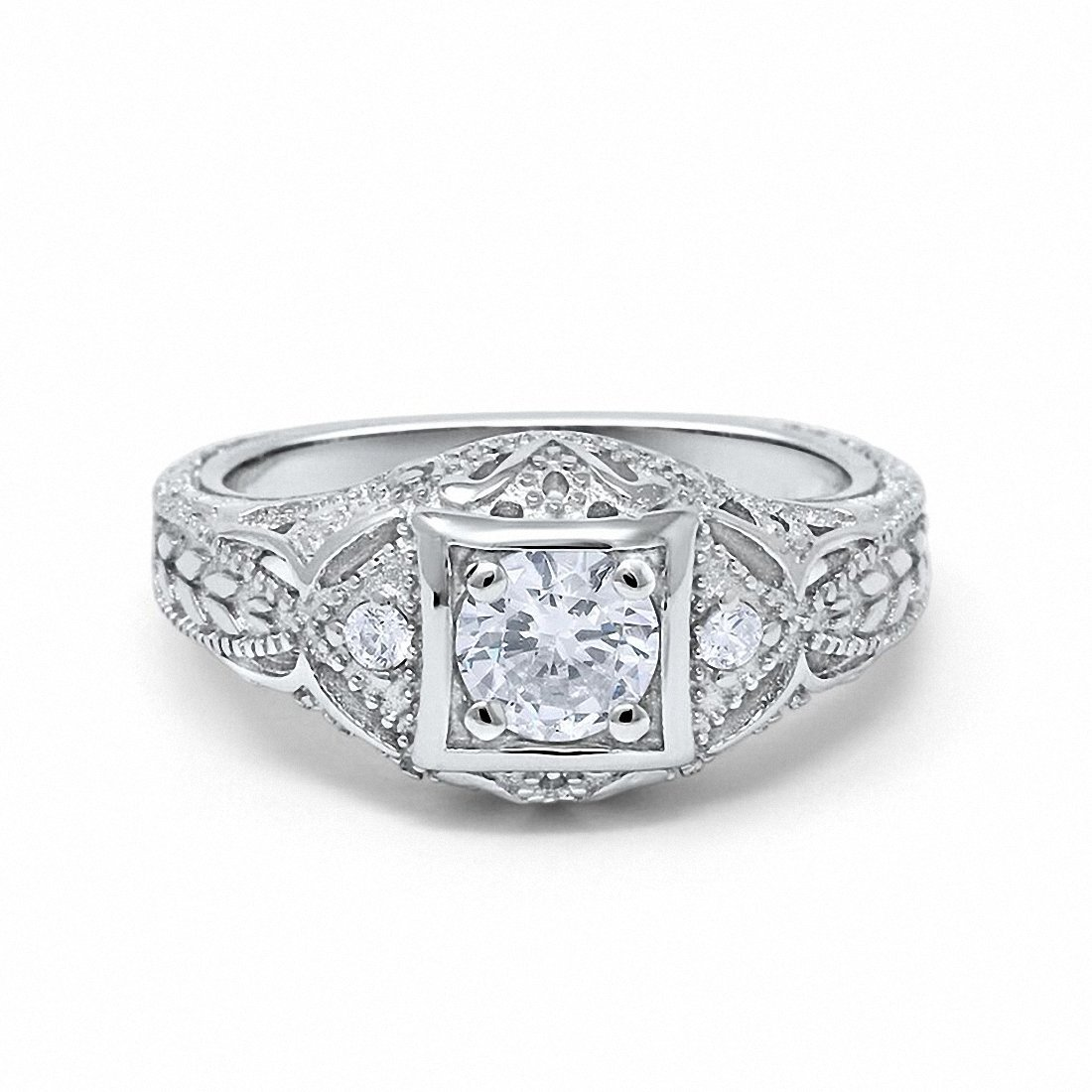 Art Deco Antique Style Wedding Engagement Ring Simulated Round Cubic Zirconia 925 Sterling Silver,Size-10