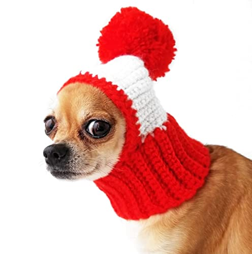 413c9932c5959 Crocheted Snood For Dogs Red Dog Hat With Pompon Funny Crochet Dog Hat Warm  Winter Dog Hat Puppy Cozy Dog Hat Dog Costume Knit Dog Clothes Hats For  Small ...