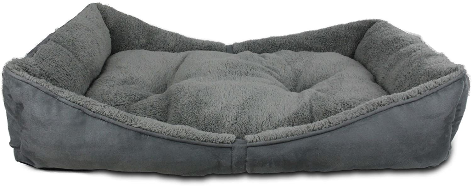 Amazon.com : All for Paws Lambswool Bolster Pet Bed, 41 by 26-Inch, Grey : Pet Supplies