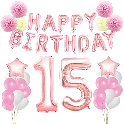 KUNGYO 15th Birthday Decorations Kit Rose Gold Happy Banner Giant Number 15 And
