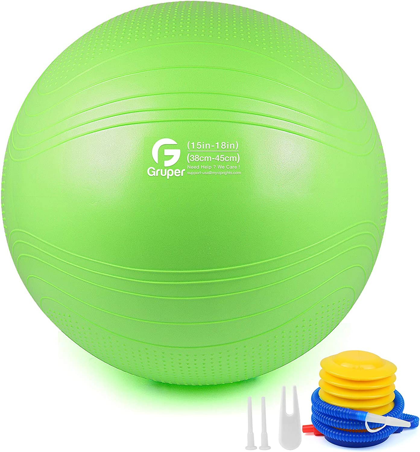 Gruper Yoga Ball,45-75cm Extra Thick Exercise Ball for Workout Fitness Balance - Anti Burst Chair for Home and Office Desk-Includes Hand Pump & Workout Guide Access