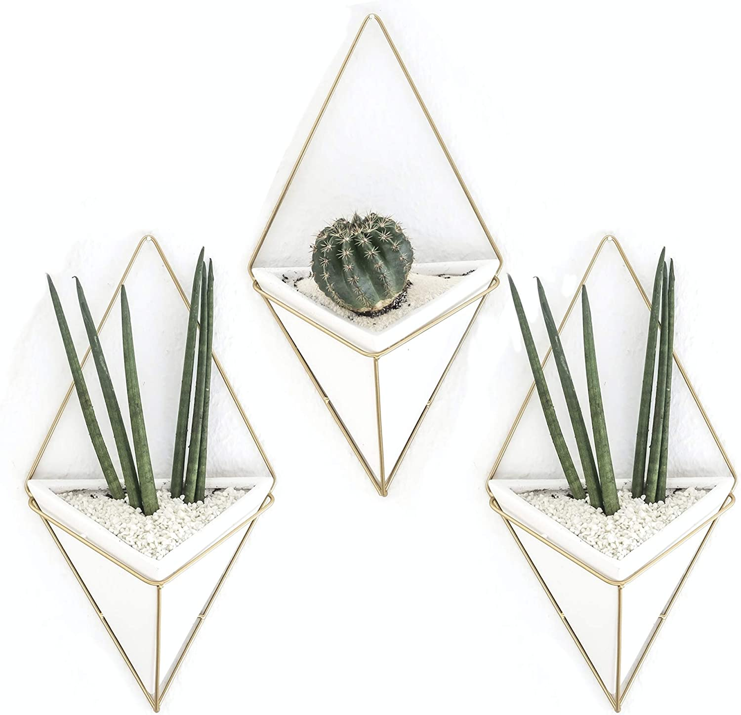Set of 3 Geometric Hanging Large Succulent Wall Planters Pot, 7 inch White Ceramic Planter with Gold Metal Frame, Decor as Cactus, Succulents, Baby Plants Flower Pots, Vase, Container, by Kimisty