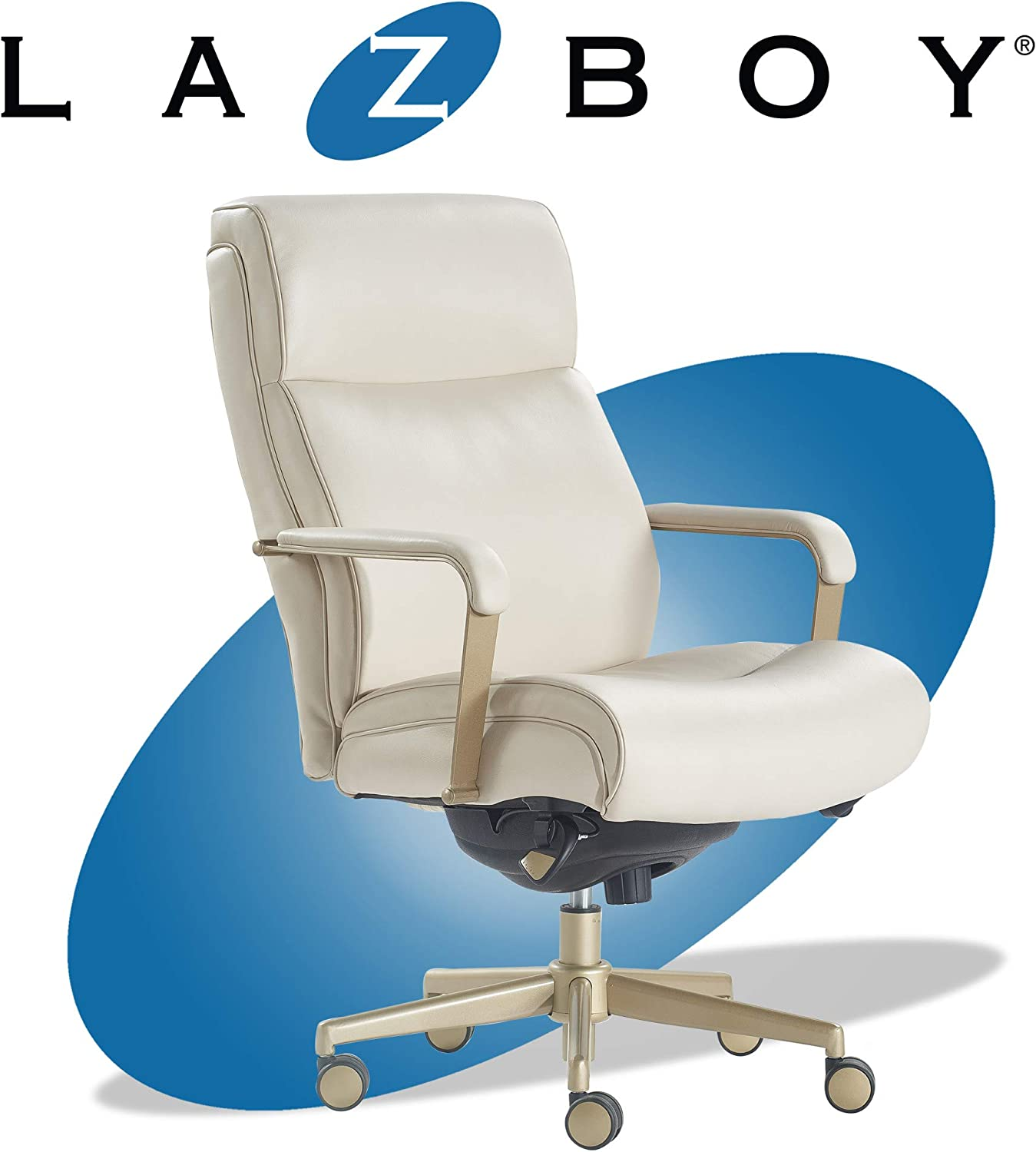 La-Z-Boy Melrose Executive Office, Adjustable High Back Ergonomic Computer  Chair with Lumbar Support, Brass Finish, Ivory White Bonded Leather