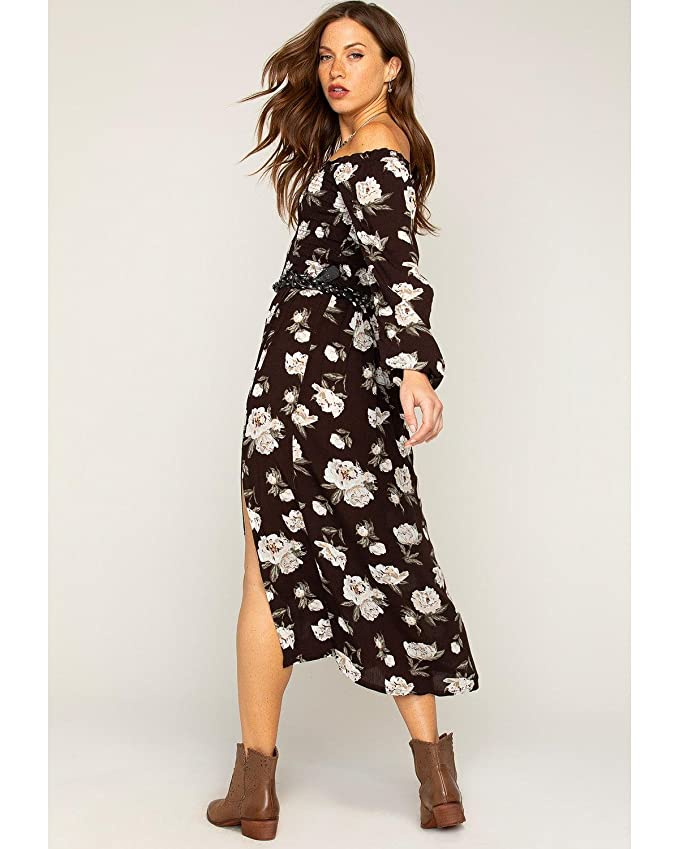 Shyanne Womens Floral Off The Shoulder Maxi Dress Black