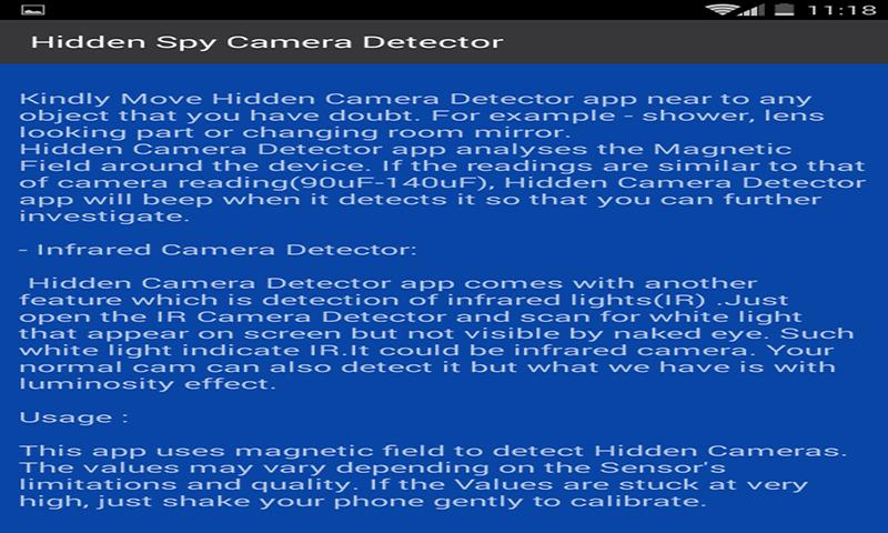 Amazon.com: Hidden Camera Detector App - Spy Detector App: Appstore for Android