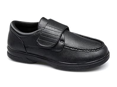 b9e192cf01fd7 Dr Keller Tony Mens Touch Fasten Bar Comfort Wide Fit Shoes Black UK 7