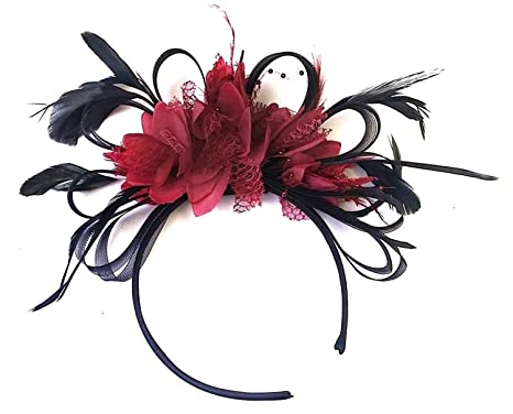 Image Unavailable. Image not available for. Color  Caprilite Black and  Burgundy Dark Red Fascinator Headband ... bf36c80deeb