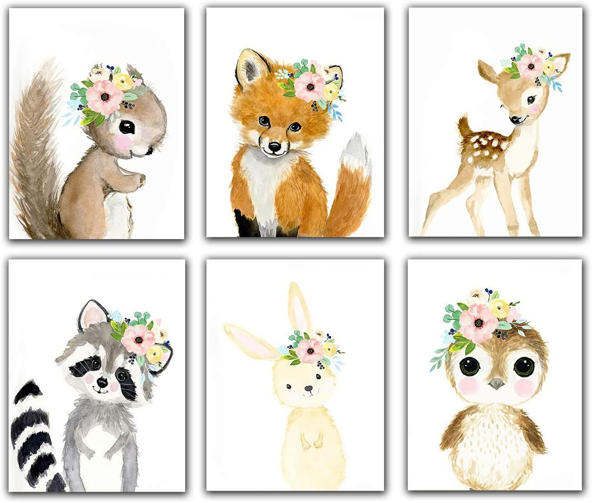 "Woodland Animals Nursery Wall Art Prints (Set of 6) - Unframed - 8x10"" Kids Bathroom Wall Art Decor Flower Crown Animal Canvas Posters Prints Room Décor"