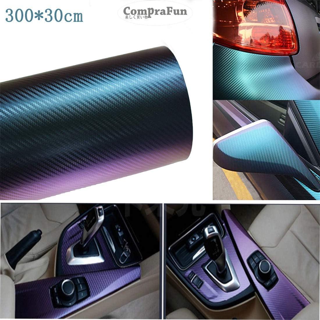 CompraFun Vinilo Fibra de Carbono, Película Pegatina de Decoración Autoadhesiva A Prueba de Agua Libre de Burbuja 300 * 30CM, Uso Exterior & Interior para Coche Moto Móvil Ordenador, Púrpura Azula