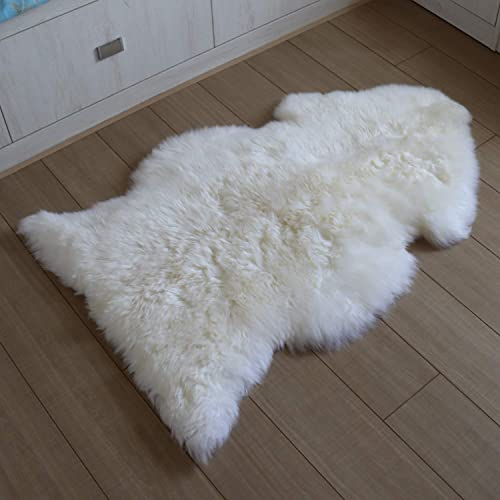 Sheepskin Rug 100 Genunie Australian Sheepskin-Soft Natural Merino 2.3 x 3.3 Luxuxry Fur Rug for Bedroom Living Room Kid s Room White