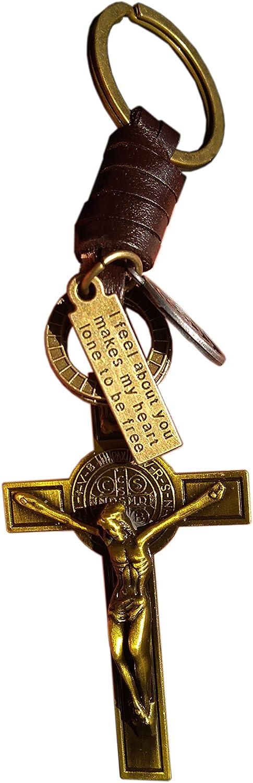 Crucifijo Jesús Llavero Santa Cruz Llavero Oro Dos Tonos Cuero Auténtico Religioso Católico Regalo Biblia Señores Oración Hombre