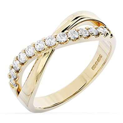 162cc773b6a43d F/SI Brand New 0.40CT Claw Set Round Diamonds Crossover Ring Available in  9K Yellow Gold Hallmarked By Assay Office London.: Amazon.co.uk: Jewellery