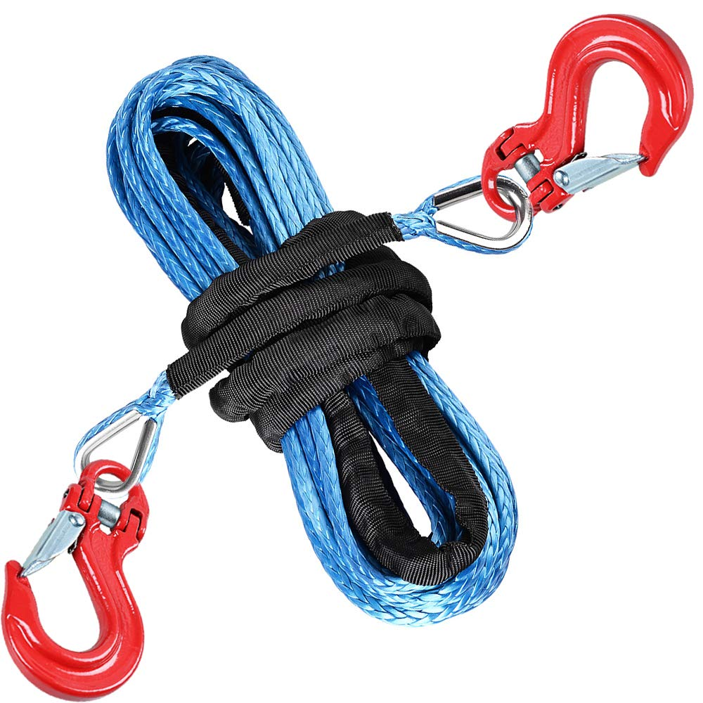 Astra Depot 50ft X 1/4'' Blue UHMWPE Synthetic Winch Rope Extension 7500lbs Cable w/Steel Eyes Thimbles Both end & 2X RED Half-Linked Forged Steel Winch Hook ATV UTV Off-Roading Vehicle by Astra Depot