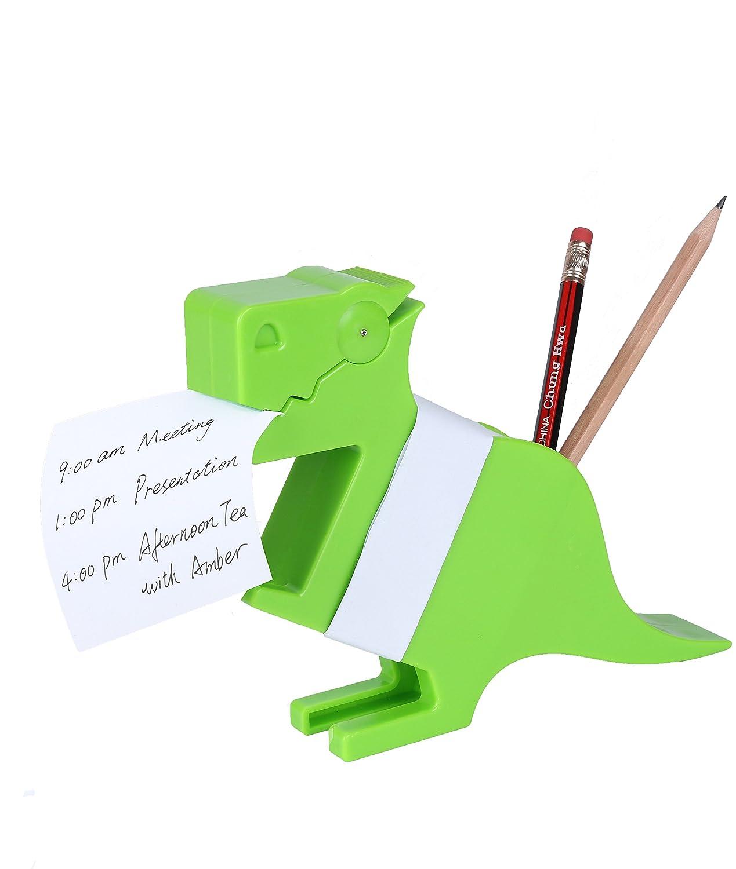 MYEUSSN Clip Morris the Memo mit Halter Notizblock Papieren Schreibtisch Top Notes Organizer Dinosaurier-Design Büro Geschenk