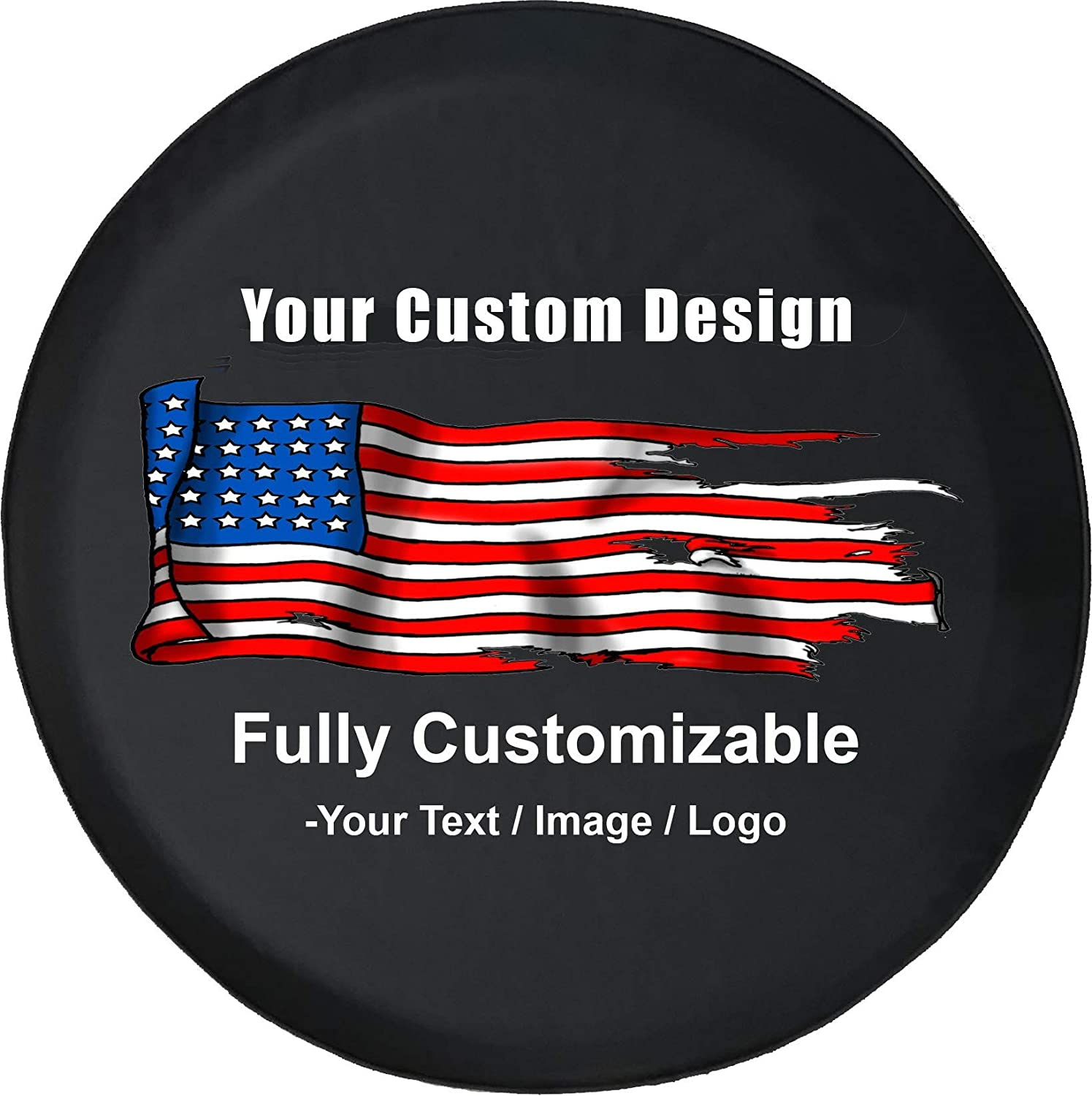 Universal Fit for SUV Camper RV Accessories 28 Inch Black American Unlimited Custom Spare Tire Cover You Design Full Color Personalized Tire Cover