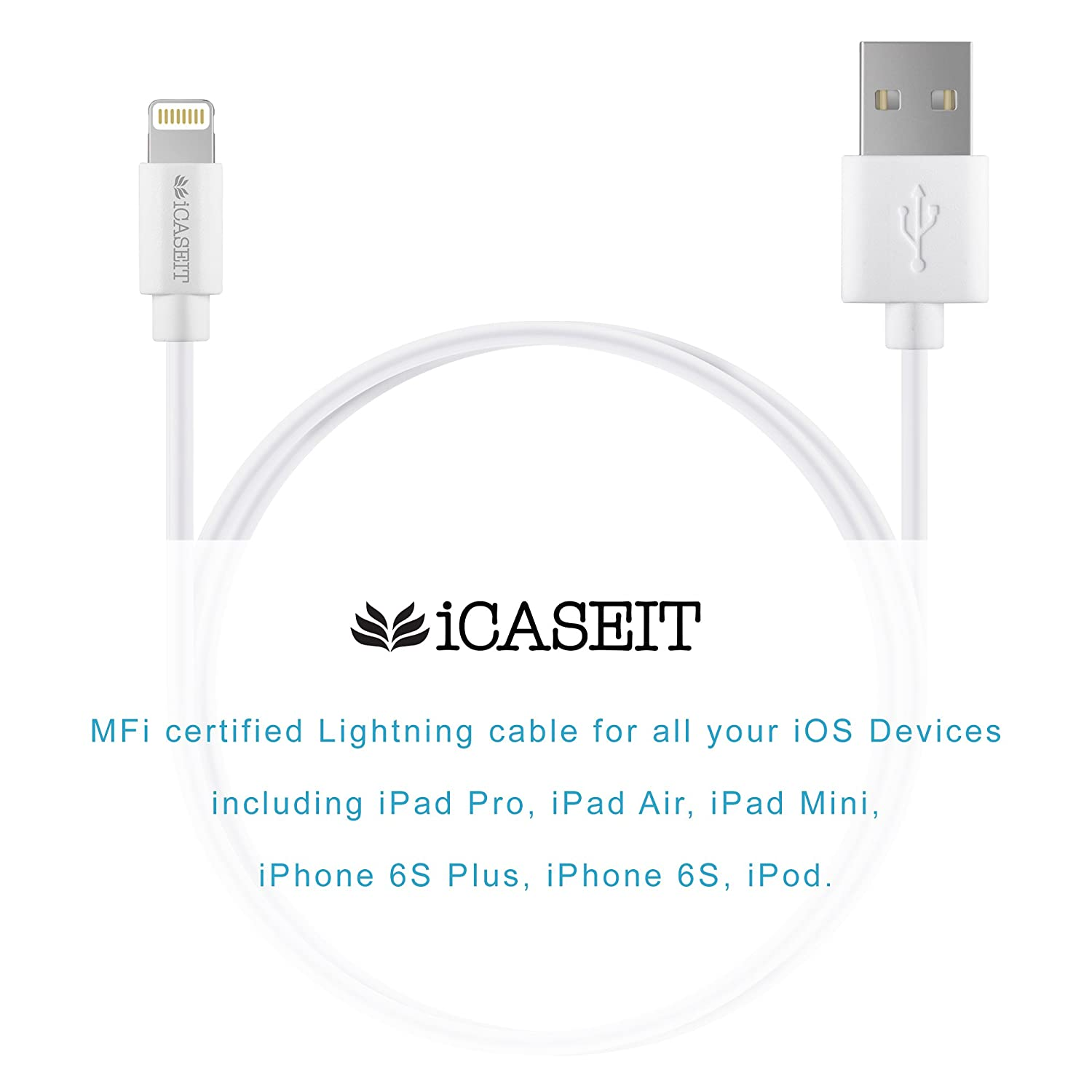 Lightning To Usb Cable Apple Mfi Certified Icaseit Connector Wiring Quick Charge Sync Cord Iphone X 8 7 6s 6 Plus Se 5s 5 Ipad Pro Air Mini Ipod Touch