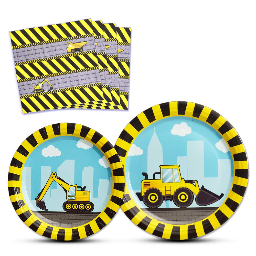 WERNNSAI Construction Party Supplies - Disposable Dump Truck Themed Tableware Set for Boys Kids Birthday Dinner Dessert Plates and Napkins Serves 16 Guests 48PCS by WERNNSAI