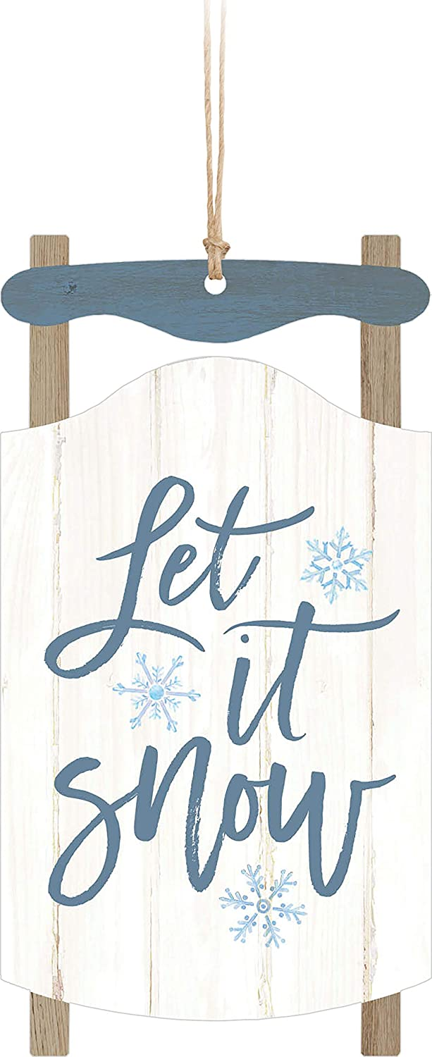 Amazon Com Let It Snow Sled Blue 5 X 2 6 Wood Christmas Hanging Figurine Ornament Arts Crafts Sewing