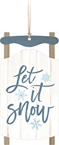 Let It Snow Sled Blue 5 x 2.6 Wood Christmas Hanging Figurine Ornament