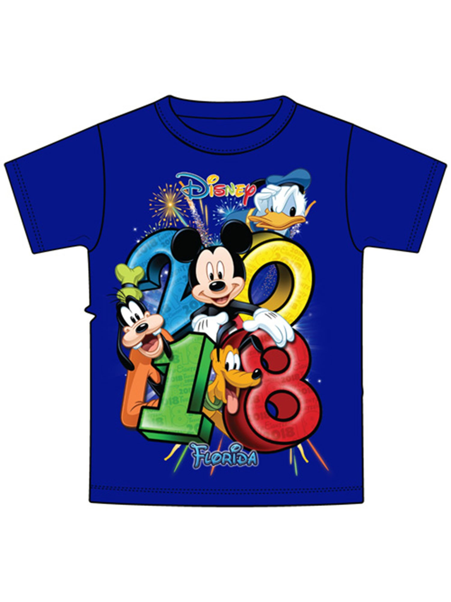 Disney Toddler 2018 Stacked Goofy Mickey Donald Pluto Group (Fl Namedrop) 3T Tee