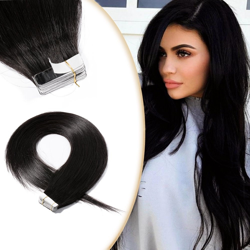 16 Inch Remy Tape in Human Hair Extensions 20pcs 50g/pack 1B Natural Black Long Straight Hair Seamless Skin Weft Invisible Double Sided Tape