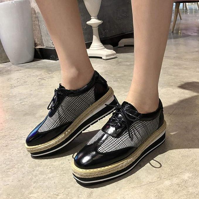 RLYAY Mocasines Cuadrados Planos De Las Mujeres Zapatos Casuales 5.5Cm Negro Borgoña: Amazon.es: Deportes y aire libre