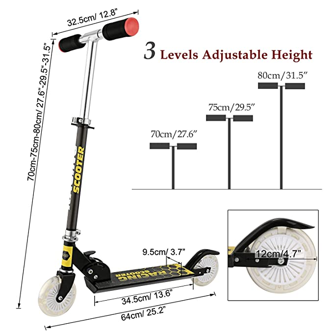 Mini Kick Scooter Aluminum Folding Scooters Adjustable Height with Light Up Wheels for Kids Girls Boys Toddler, Ages 2-8 Years (US Stock)