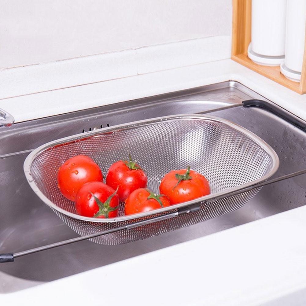 SH-Flying Micro Perforated Stainless Colander Edelstahl Verstellbares Waschbecken Micro-perforierte Wasserablaufsiebfilter Zum Waschen Von Obst Und Gem/üse.