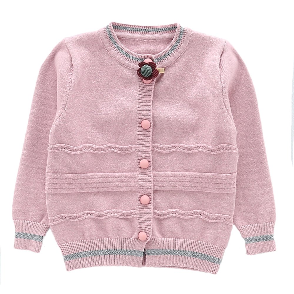 Moonnut Girls Cardigan Sweaters Basic Solid Color Long Sleeve Knitted Outwear (3T, Purple Pink)