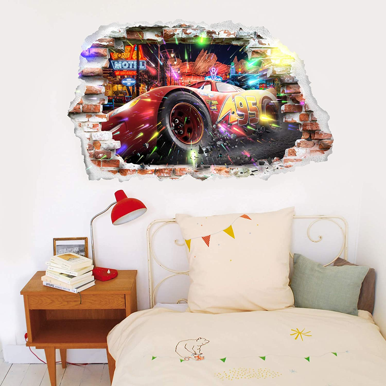 Grand 93 cm X 57 cm Interpaw Cars 3D Cartoon Smashed Stickers muraux pour Chambres gar/çons et Filles Sticker Mural Taille
