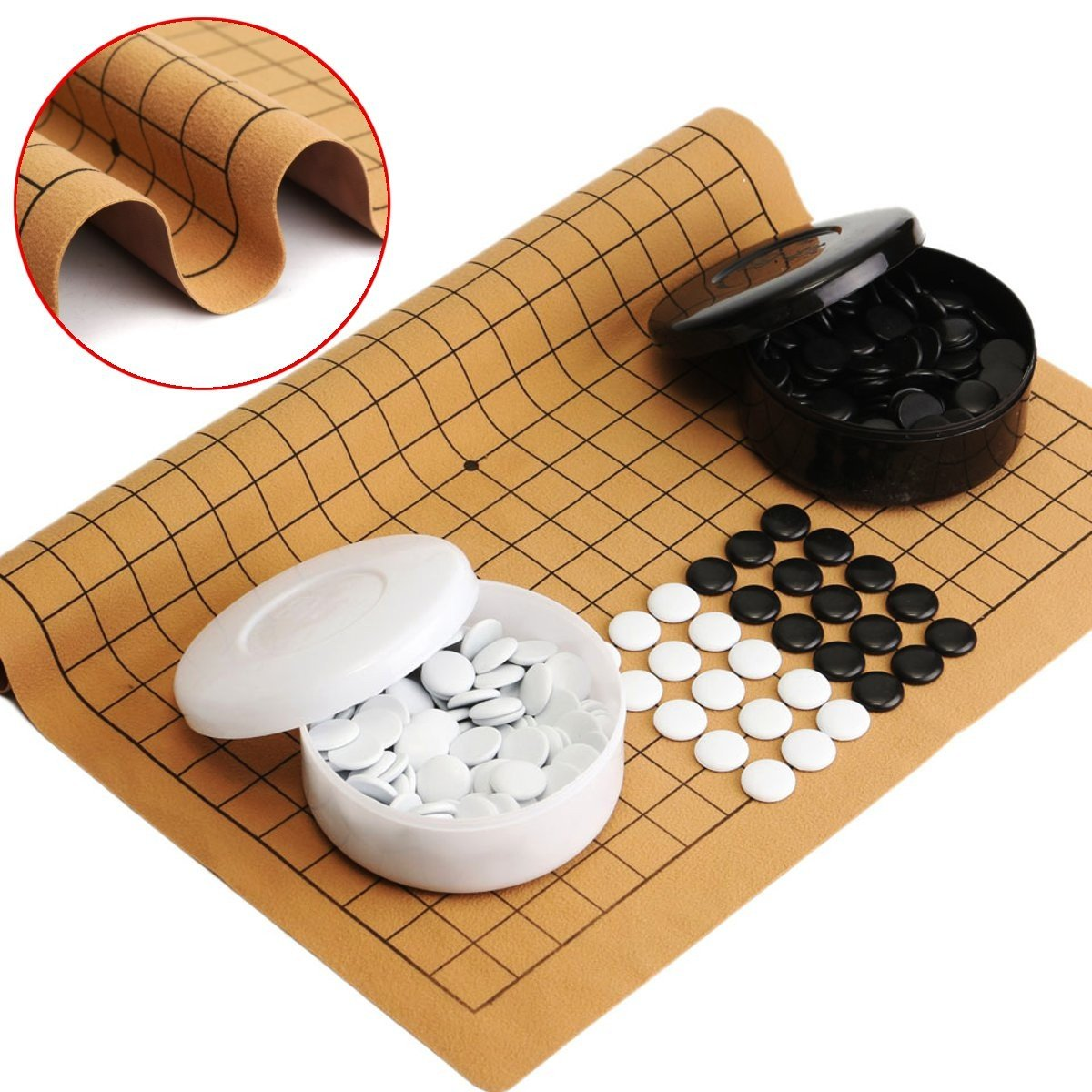 Wanrane 361PCS Weiqi Professional Toy,Go Game Suede Leather Sheet Chinese Play Fun Educational Toys