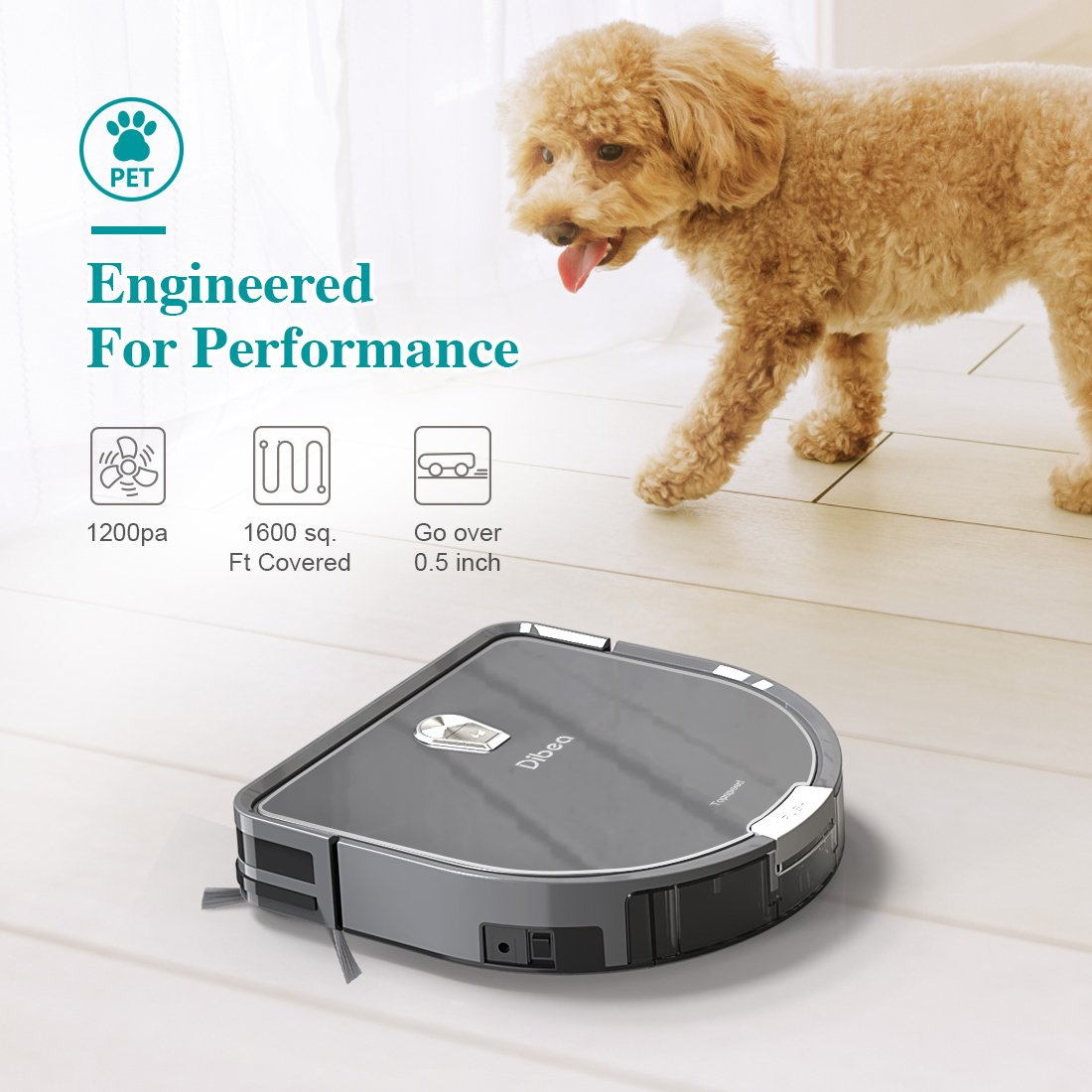 Amazon.com: Dibea Robot Vacuum Cleaner Mopping Water Tank, 1200pa High Suction, Self-Charging Drop-Sensing Robotic Vacuum Pet Hair Hard Floor DT966: Home & ...